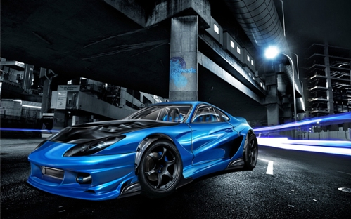 Cool Blue Street Racing Car Wallpaper 1